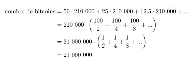 Calcul nombre maximal de bitcoins en circulation
