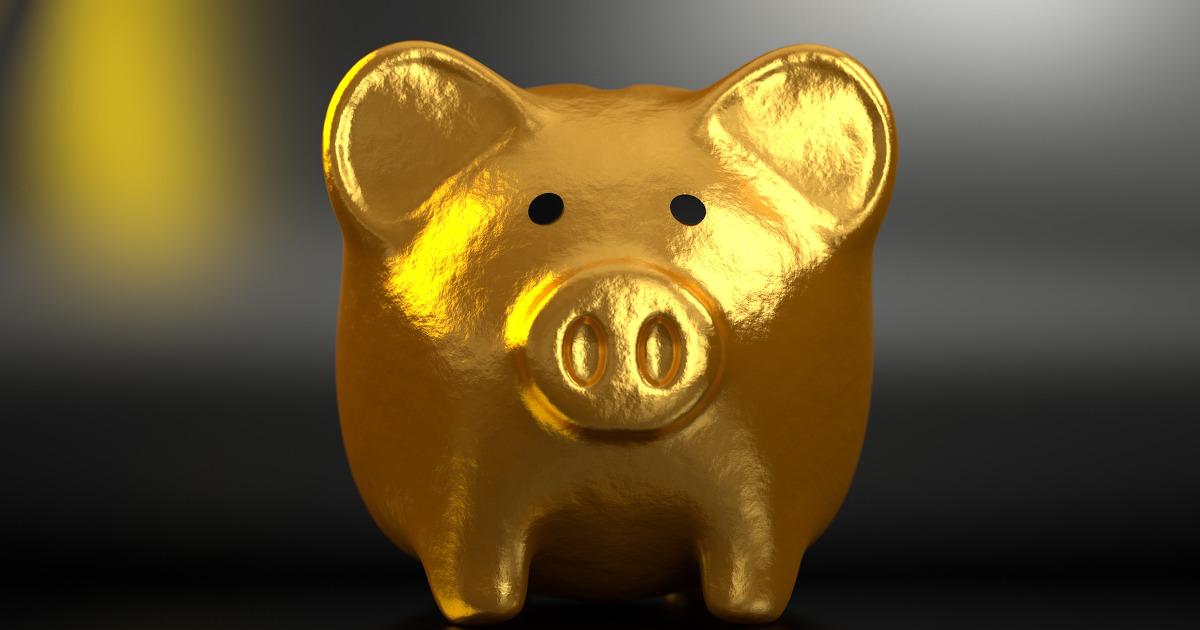 Tirelire cochon doré