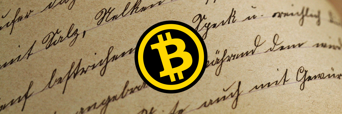 Écriture manuscrite Bitcoin long