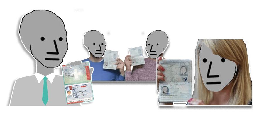 Exemple de PNJ montrant leur pièce d'identité pour pouvoir échanger leurs cryptomonnaies