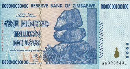 Billet de 100 billions de dollars zimbabwéens
