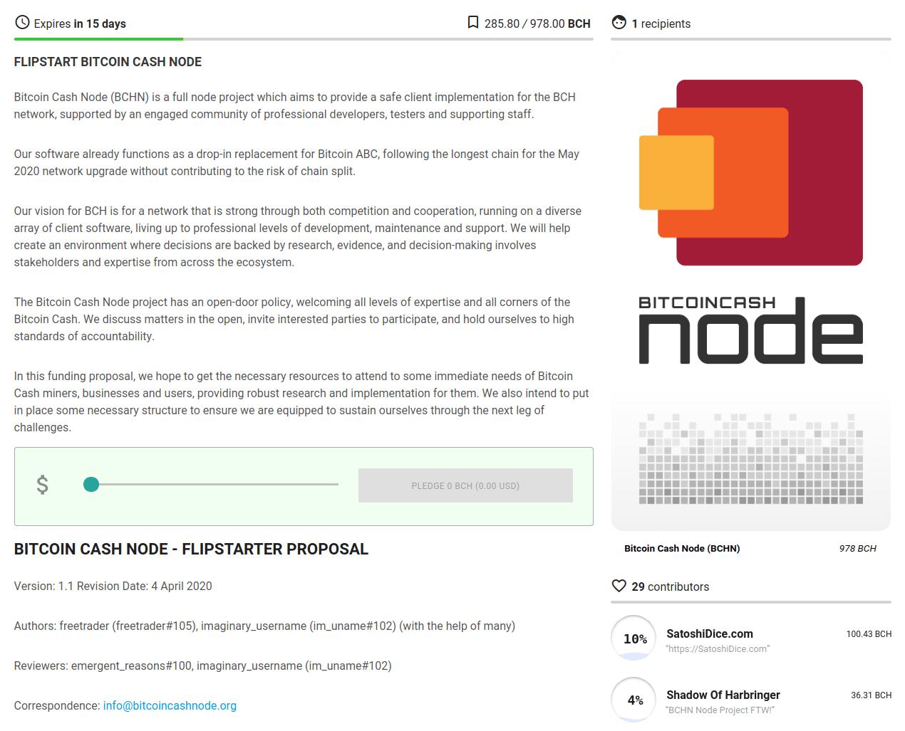 Campagne Flipstarter Bitcoin Cash Node BCHN 23 avril