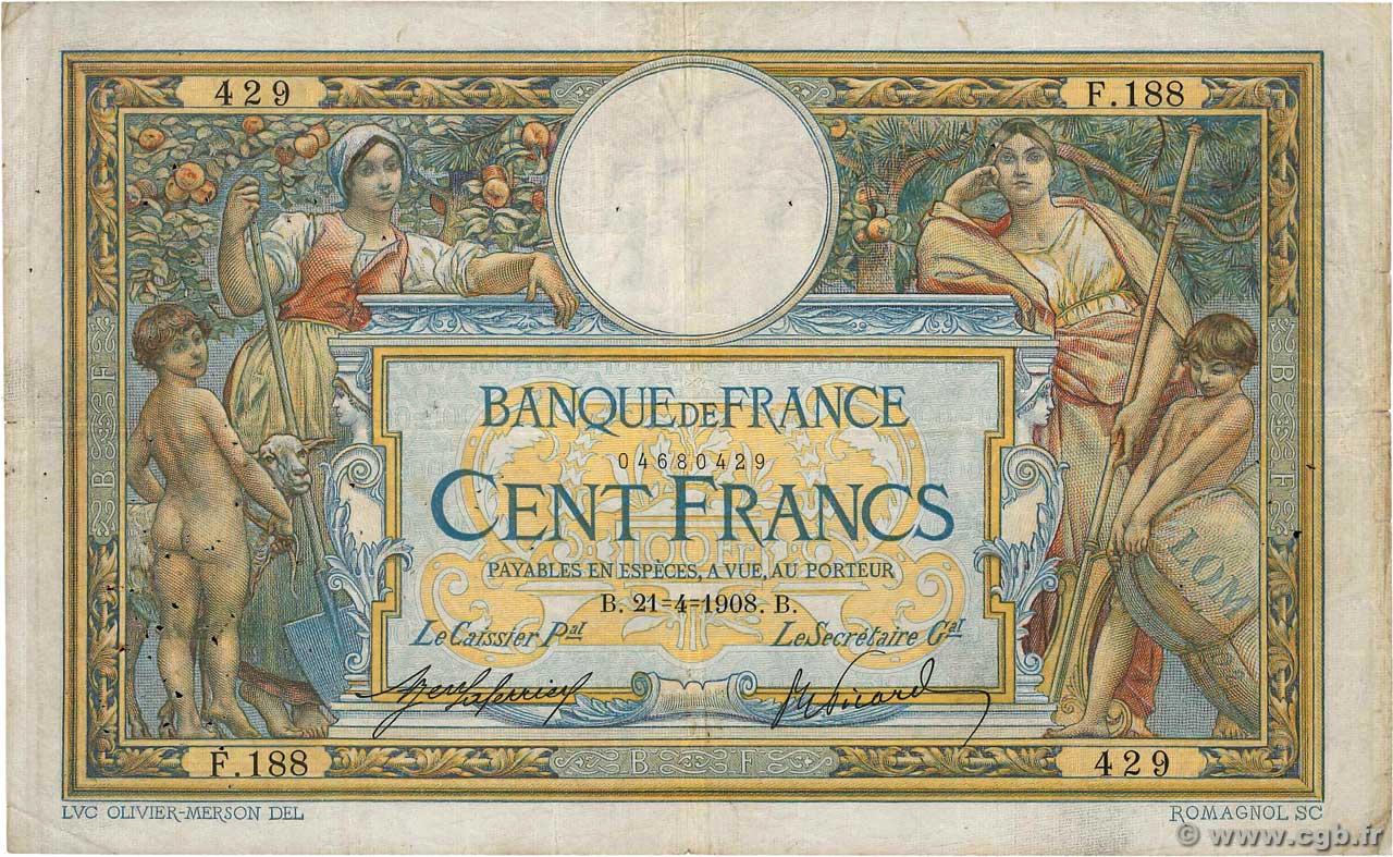 Billet de 100 francs merson 1908