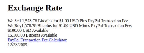 Bitcoin NewLibertyStandard exchange rates 2009